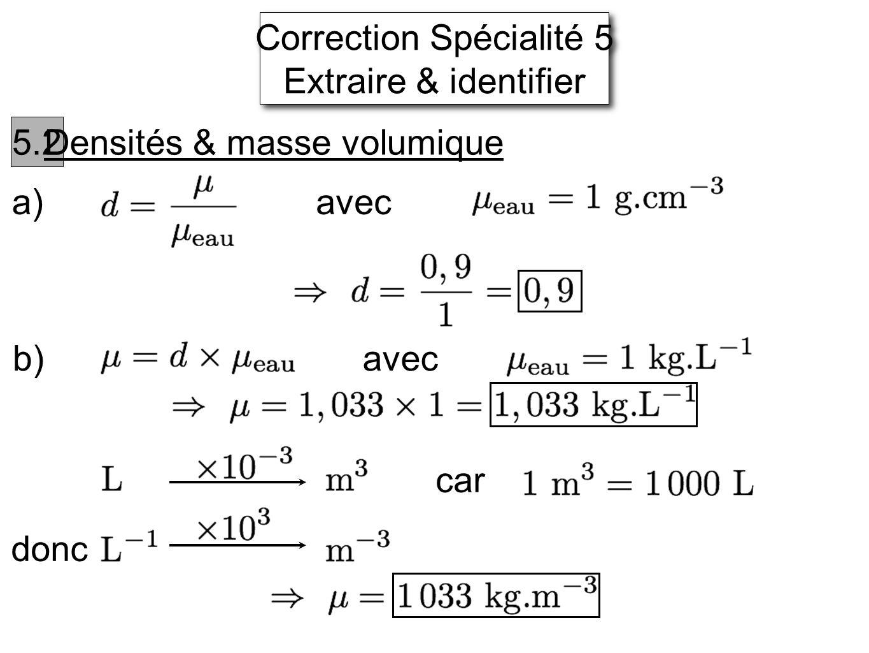 Correction Spécialité 5 Extraire & identifier