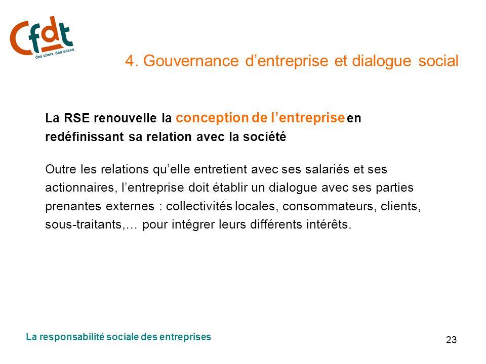 4. Gouvernance d'entreprise et dialogue social