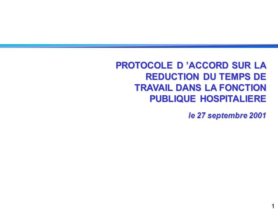 PROTOCOLE D 'ACCORD SUR LA REDUCTION DU TEMPS DE TRAVAIL DANS LA FONCTION PUBLIQUE HOSPITALIERE