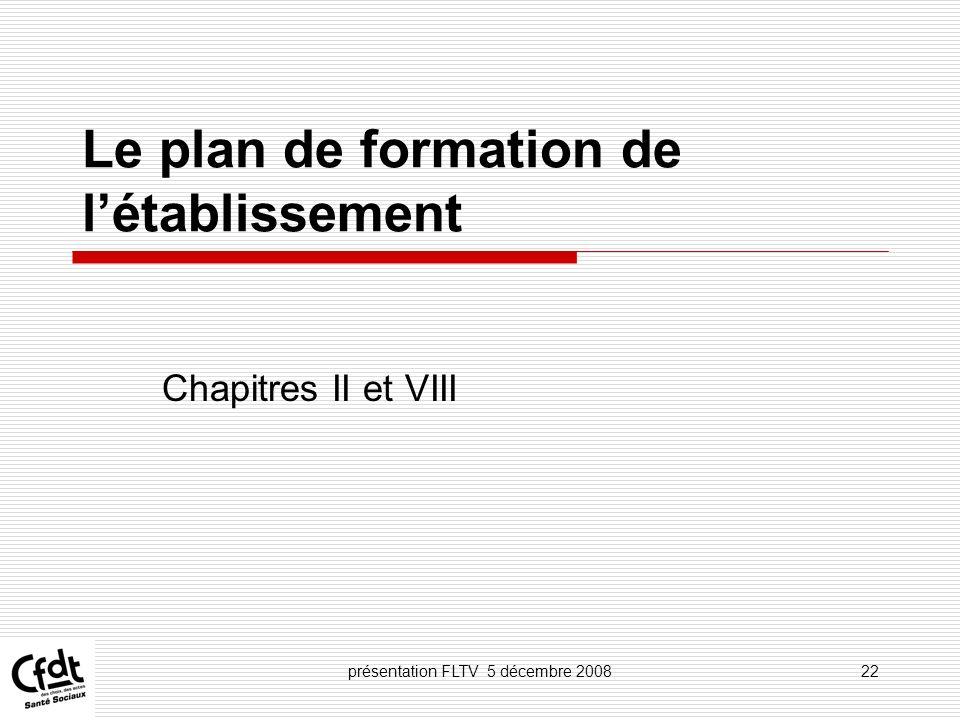 Le plan de formation de l'établissement