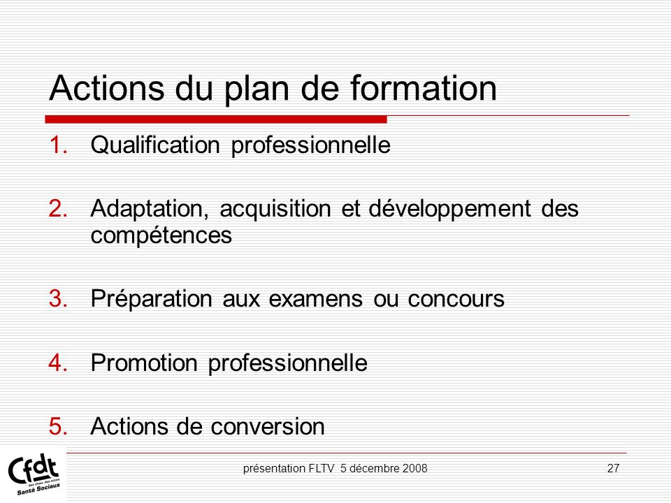 Actions du plan de formation