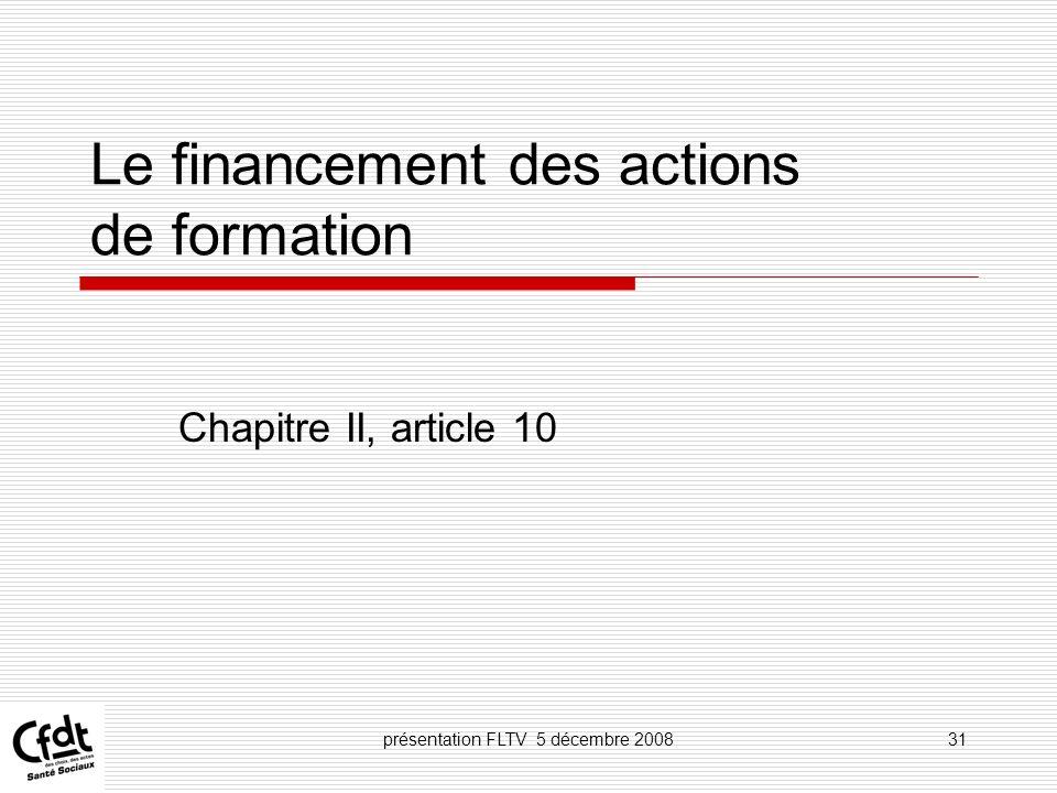 Le financement des actions de formation
