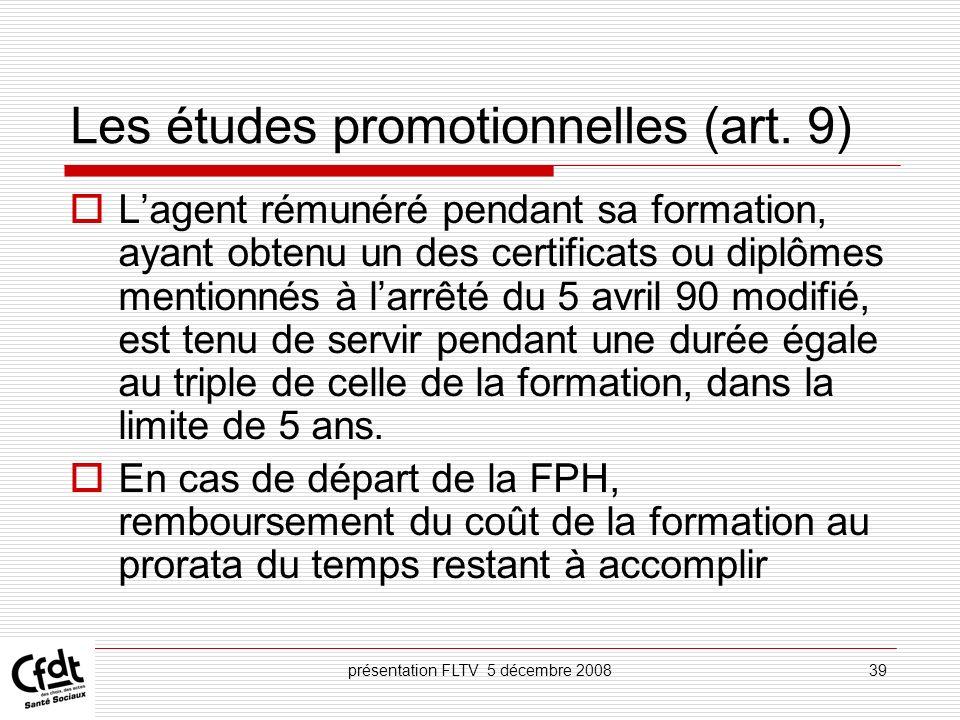 Les études promotionnelles (art. 9)