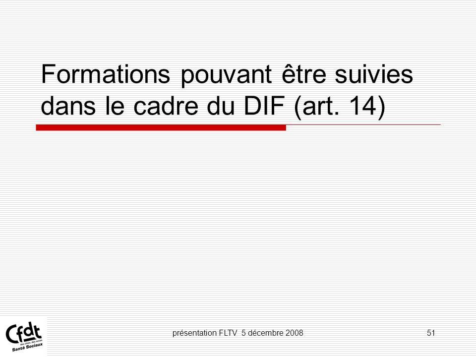 Formations pouvant être suivies dans le cadre du DIF (art. 14)