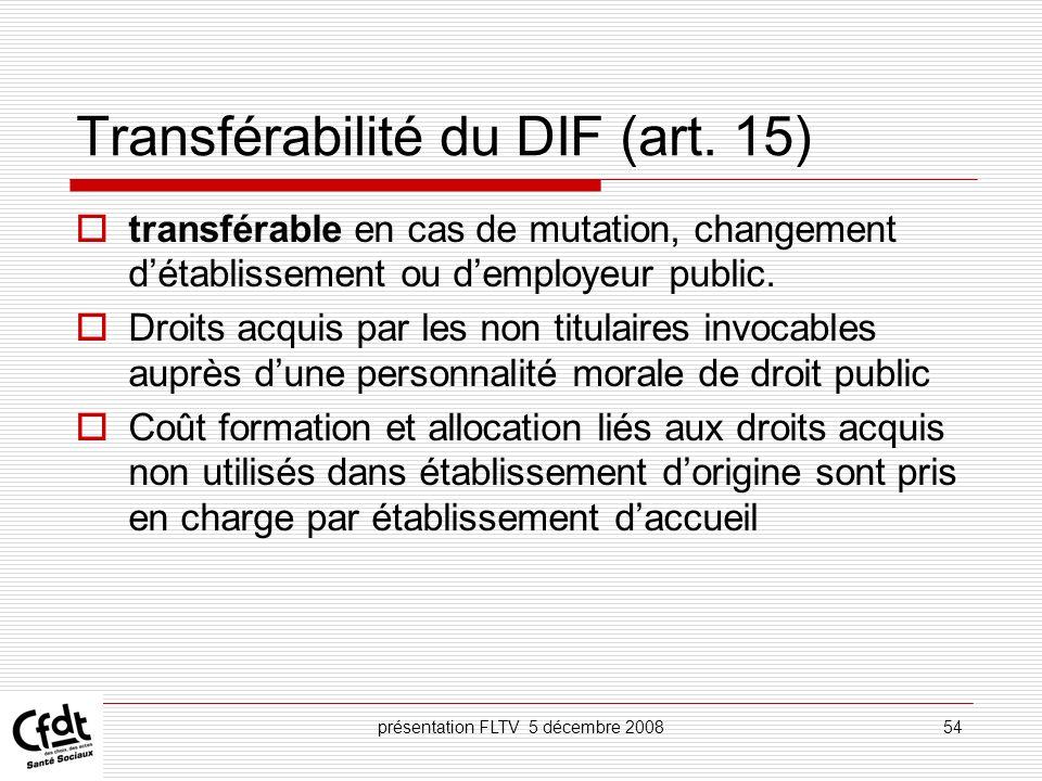 Transférabilité du DIF (art. 15)