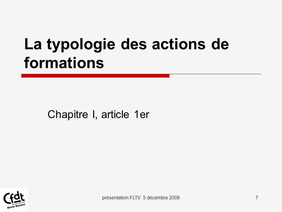 La typologie des actions de formations
