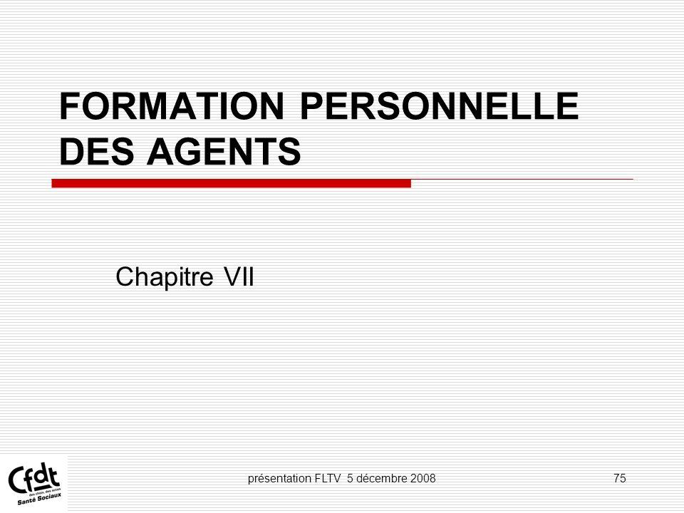 FORMATION PERSONNELLE DES AGENTS