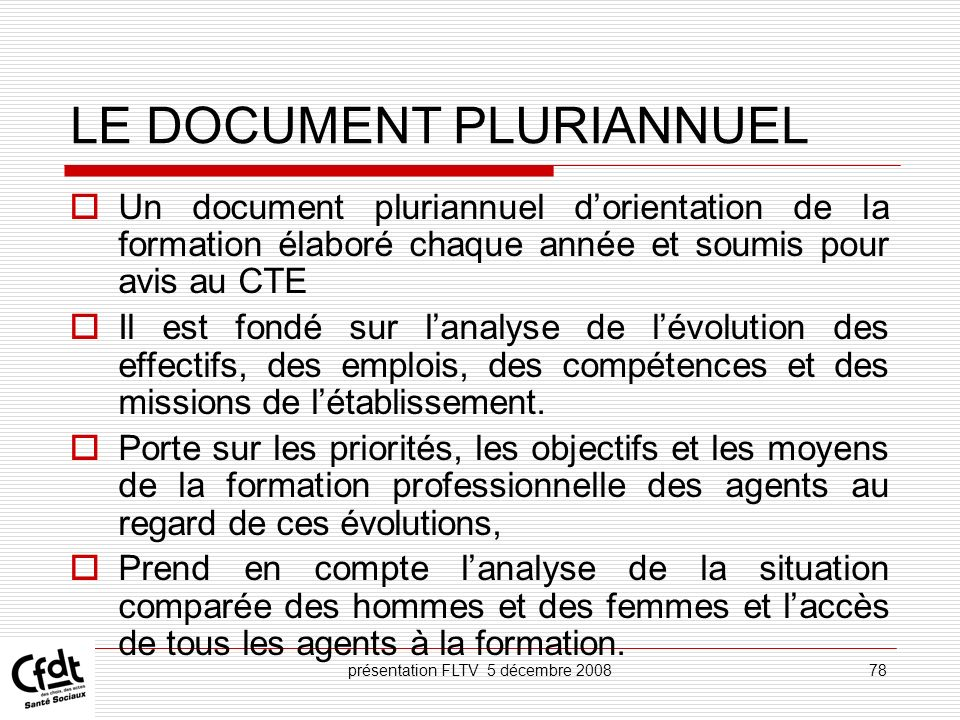 LE DOCUMENT PLURIANNUEL