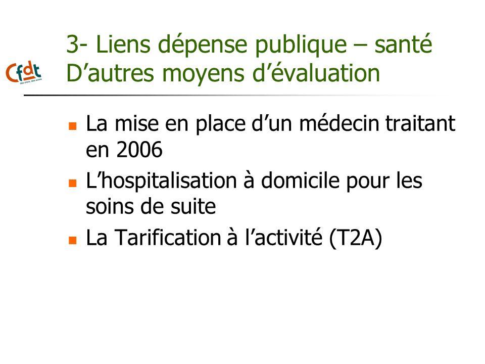 3- Liens dépense publique – santé D'autres moyens d'évaluation