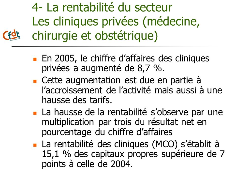 4- La rentabilité du secteur Les cliniques privées (médecine, chirurgie et obstétrique)
