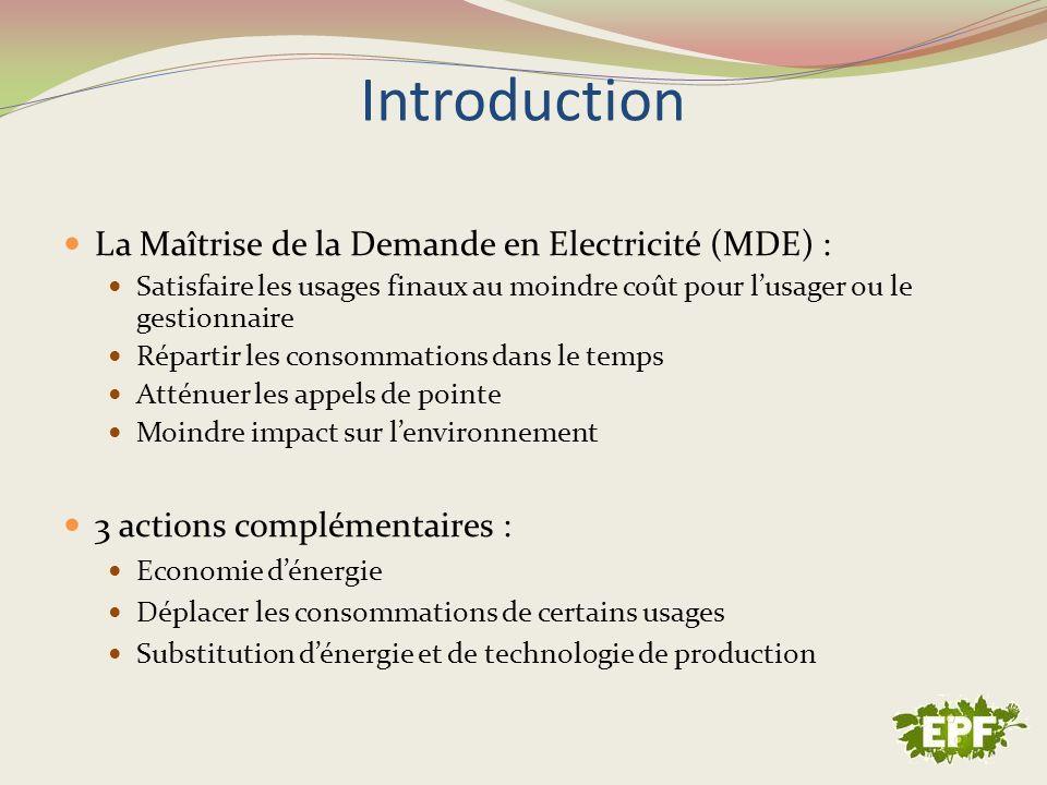 Introduction La Maîtrise de la Demande en Electricité (MDE) :