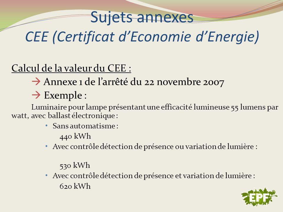 Sujets annexes CEE (Certificat d'Economie d'Energie)