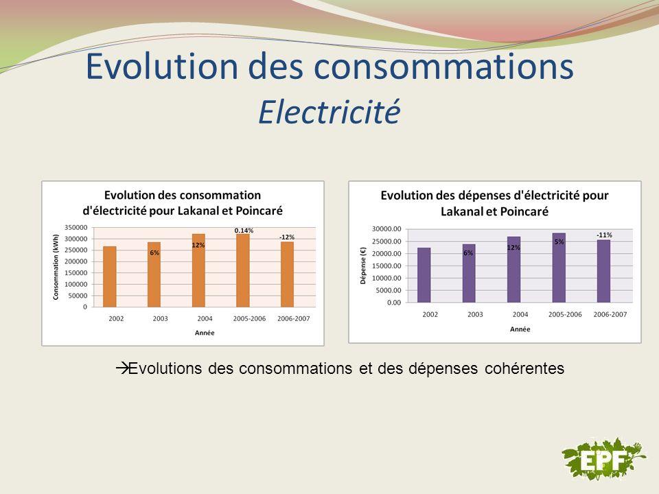 Evolution des consommations Electricité