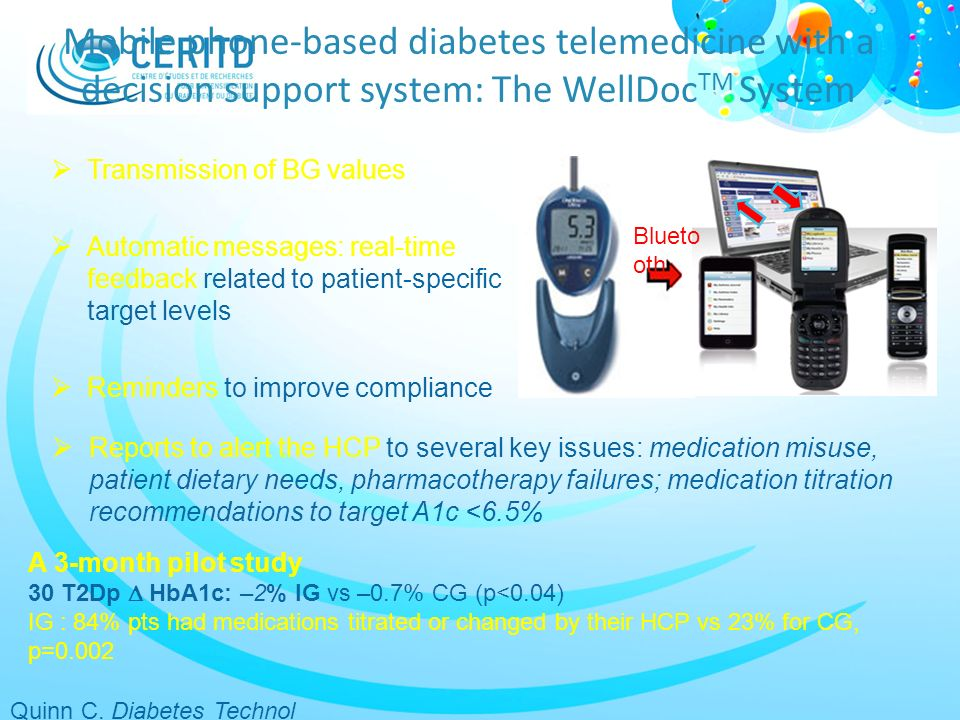Mobile phone-based diabetes telemedicine with a decision support system: The WellDocTM System