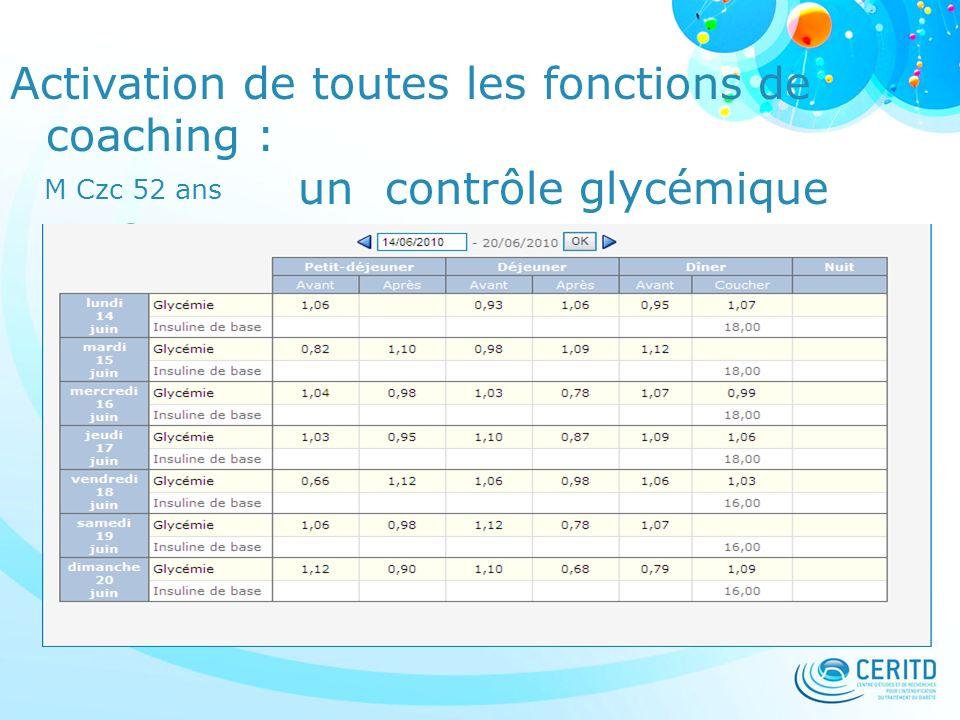 Activation de toutes les fonctions de coaching : un contrôle glycémique parfait