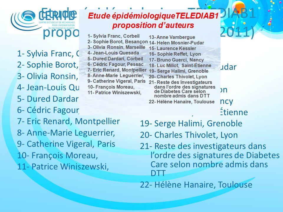 Etude épidémiologiqueTELEDIAB1 proposition d'auteurs (SFD, 2011)