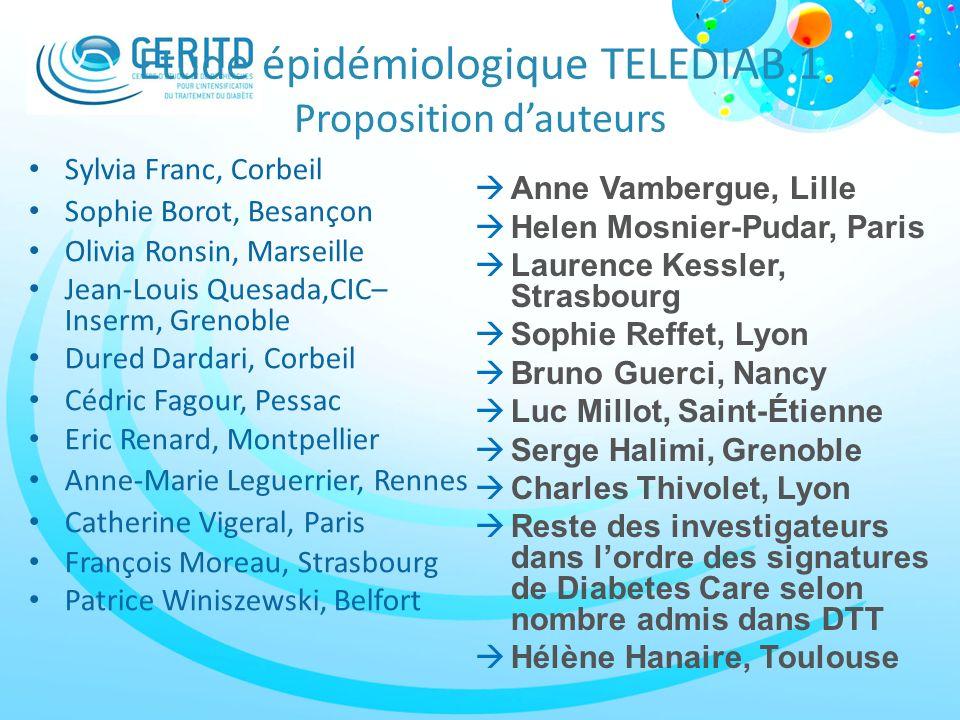 Etude épidémiologique TELEDIAB 1 Proposition d'auteurs