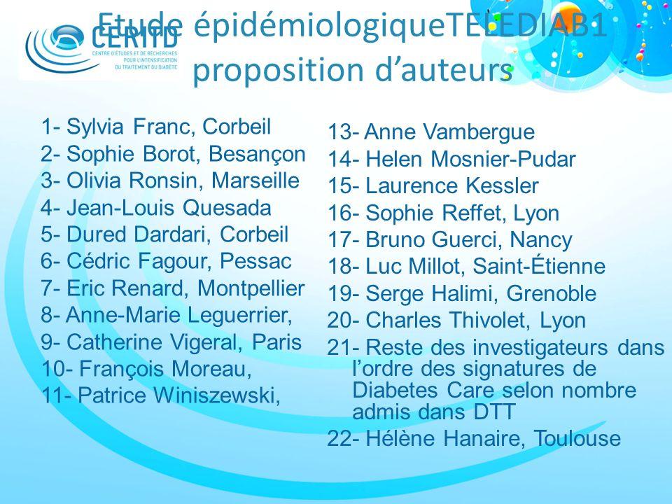 Etude épidémiologiqueTELEDIAB1 proposition d'auteurs