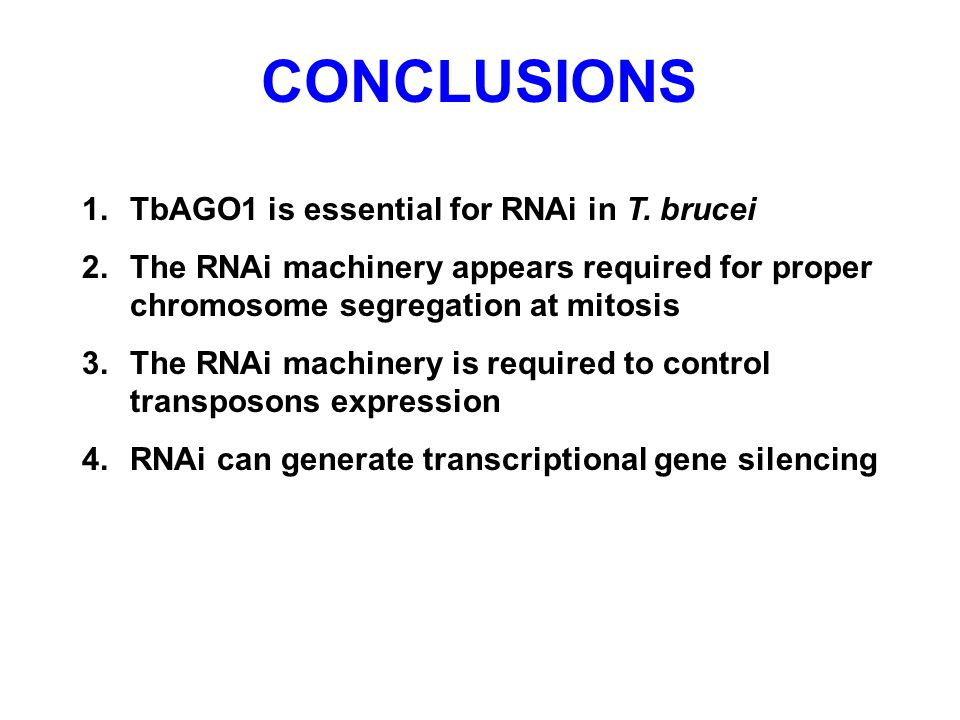 CONCLUSIONS TbAGO1 is essential for RNAi in T. brucei