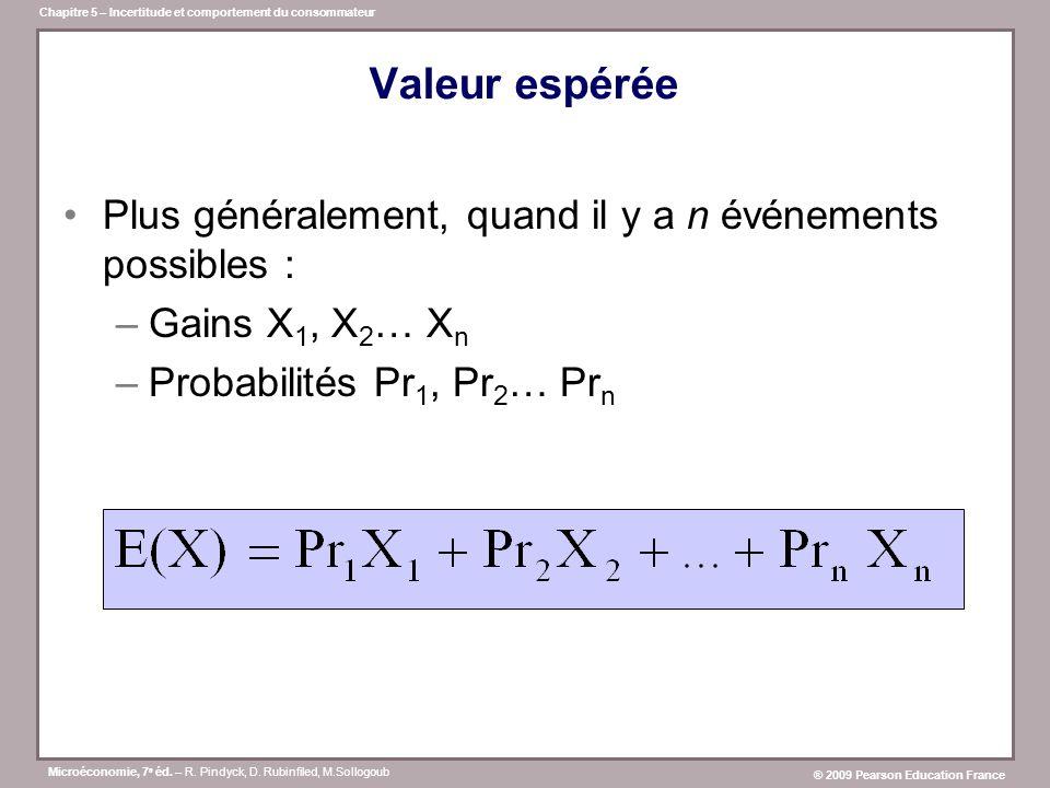 Valeur espérée Plus généralement, quand il y a n événements possibles : Gains X1, X2… Xn. Probabilités Pr1, Pr2… Prn.