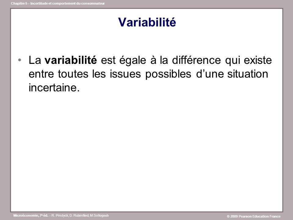 Variabilité La variabilité est égale à la différence qui existe entre toutes les issues possibles d'une situation incertaine.