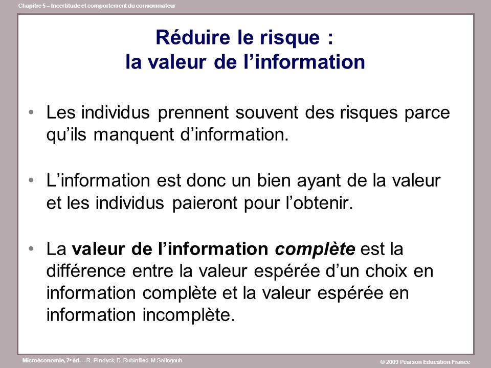 Réduire le risque : la valeur de l'information