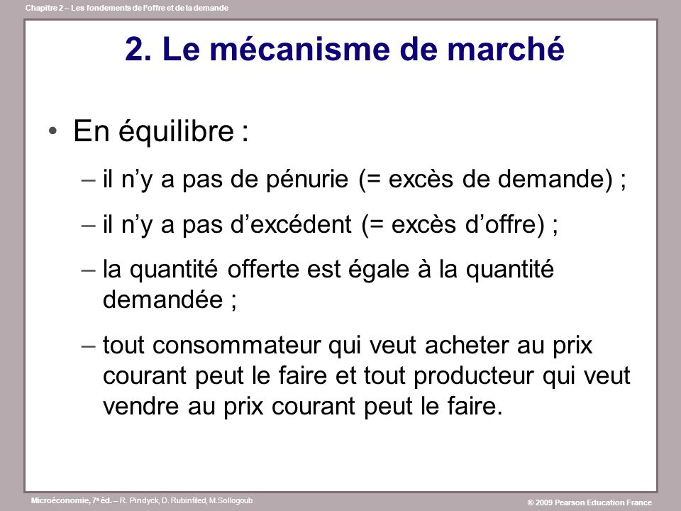 2. Le mécanisme de marché En équilibre :