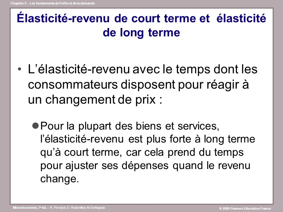 Élasticité-revenu de court terme et élasticité de long terme