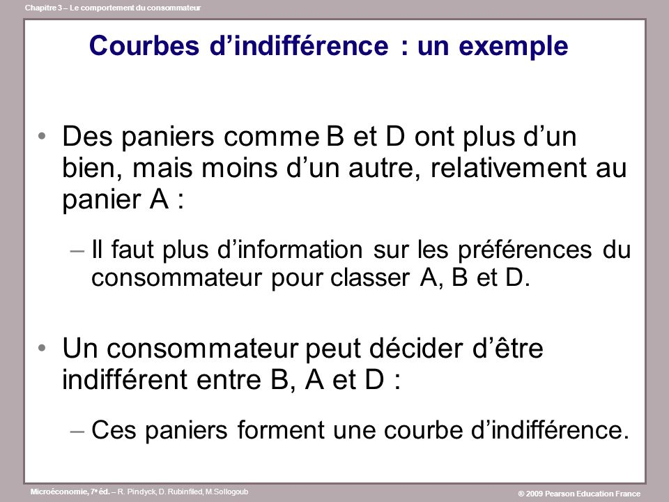 Courbes d'indifférence : un exemple