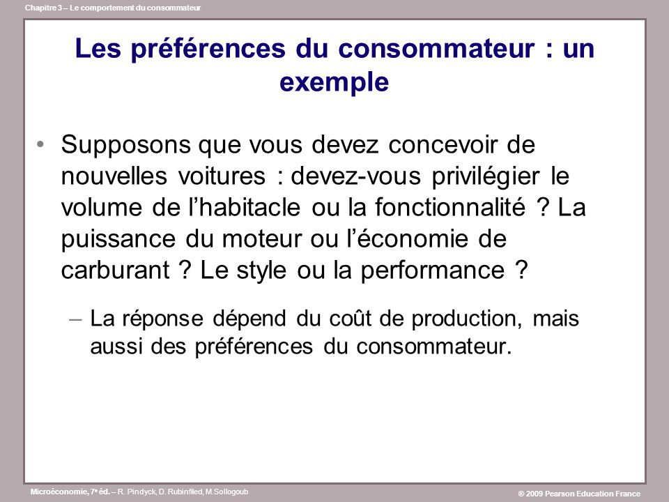 Les préférences du consommateur : un exemple