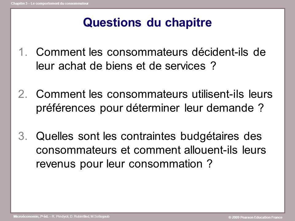 Questions du chapitre Comment les consommateurs décident-ils de leur achat de biens et de services