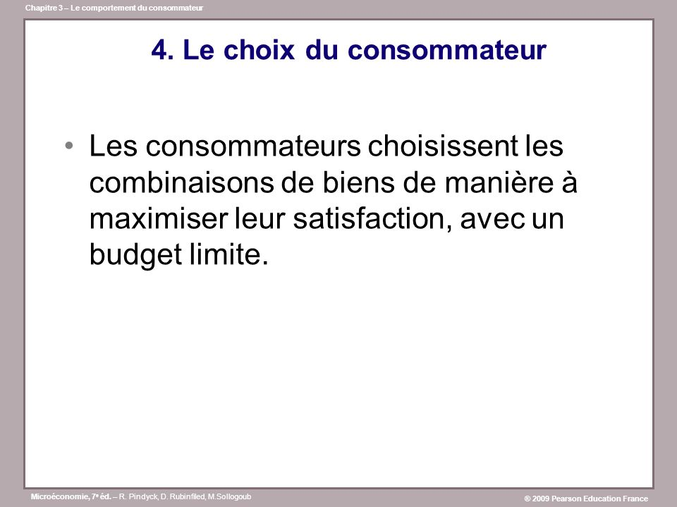 4. Le choix du consommateur