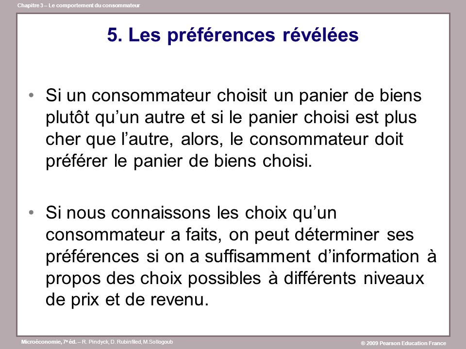 5. Les préférences révélées