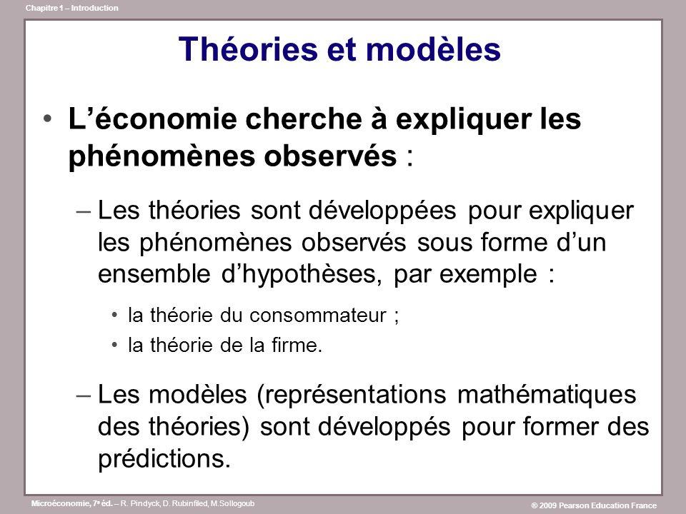 Théories et modèles L'économie cherche à expliquer les phénomènes observés :