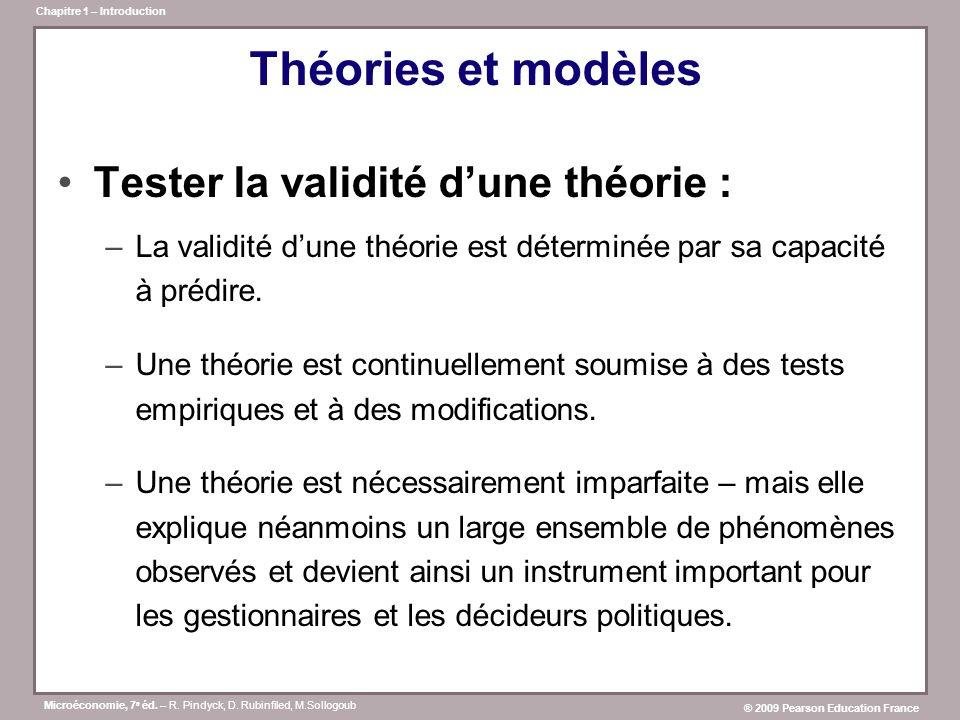 Théories et modèles Tester la validité d'une théorie :