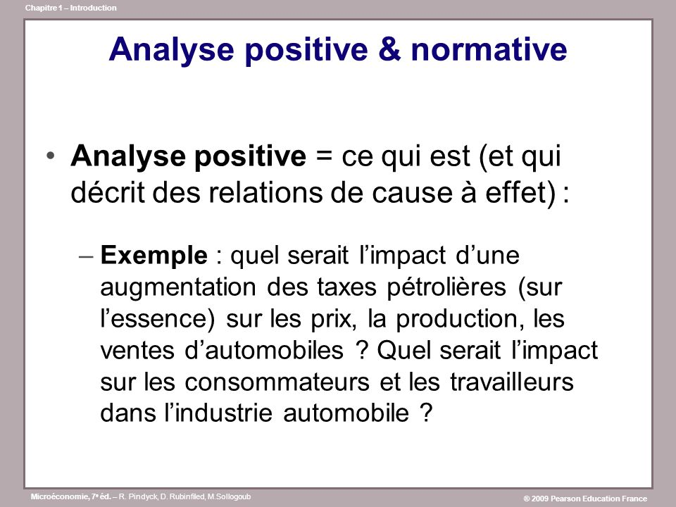 Analyse positive & normative