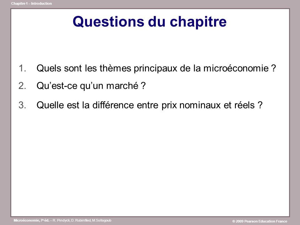 Questions du chapitre Quels sont les thèmes principaux de la microéconomie Qu'est-ce qu'un marché