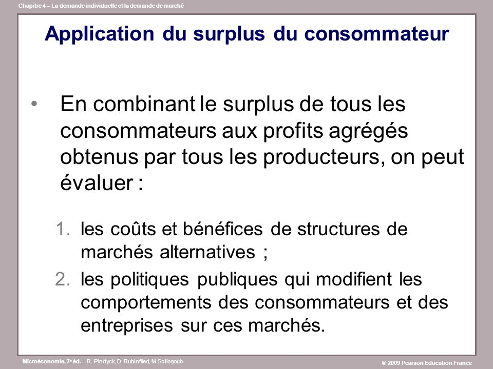 Application du surplus du consommateur