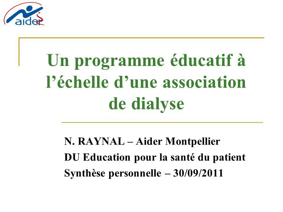 Un programme éducatif à l'échelle d'une association de dialyse