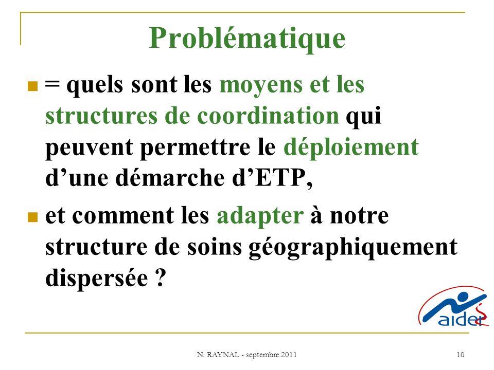 Problématique = quels sont les moyens et les structures de coordination qui peuvent permettre le déploiement d'une démarche d'ETP,
