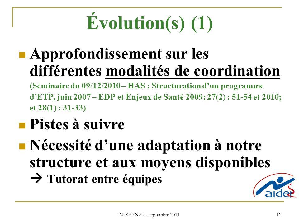 Évolution(s) (1) Approfondissement sur les différentes modalités de coordination. (Séminaire du 09/12/2010 – HAS : Structuration d'un programme.