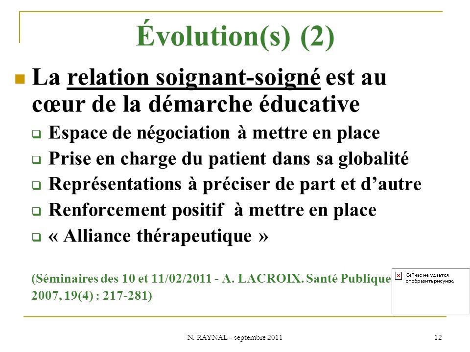 Évolution(s) (2) La relation soignant-soigné est au cœur de la démarche éducative. Espace de négociation à mettre en place.