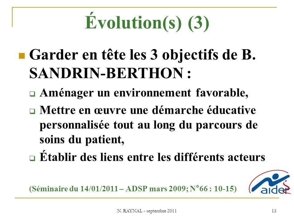 Évolution(s) (3) Garder en tête les 3 objectifs de B. SANDRIN-BERTHON : Aménager un environnement favorable,