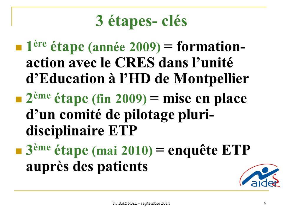 3 étapes- clés 1ère étape (année 2009) = formation-action avec le CRES dans l'unité d'Education à l'HD de Montpellier.