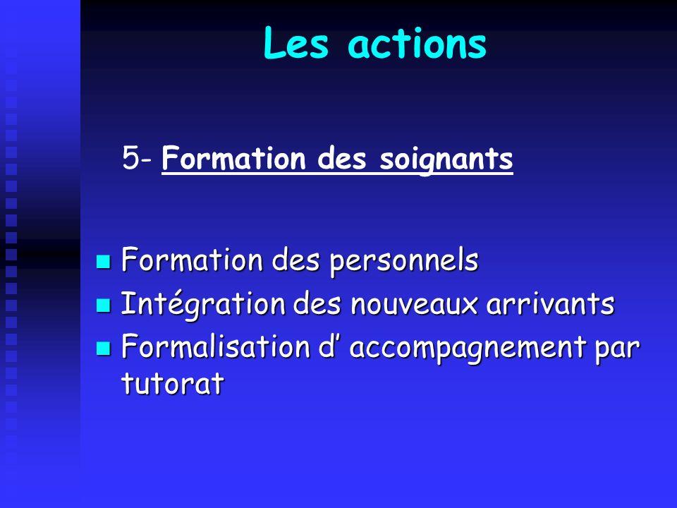 Les actions 5- Formation des soignants Formation des personnels