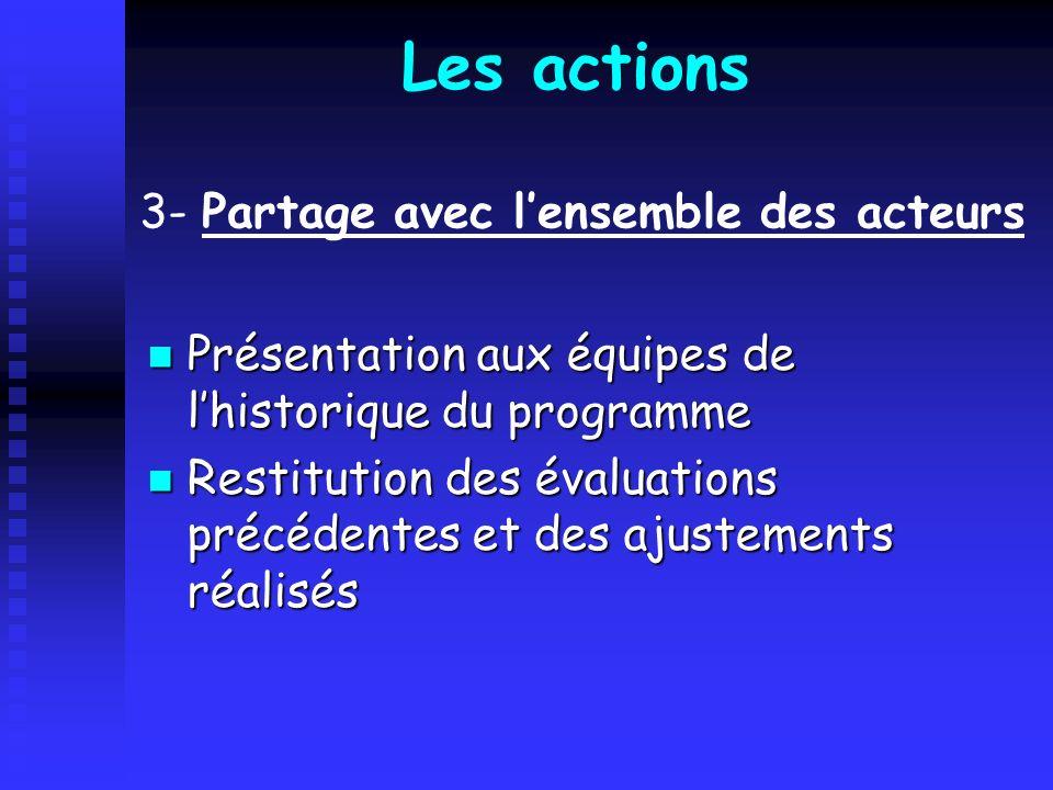 Les actions 3- Partage avec l'ensemble des acteurs