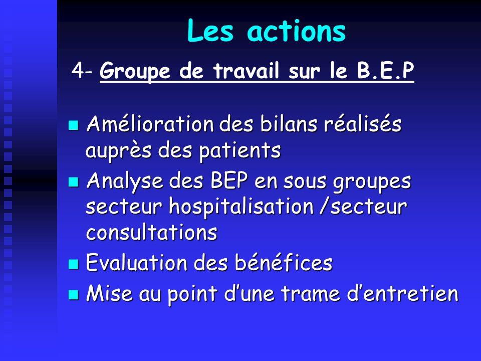 Les actions 4- Groupe de travail sur le B.E.P