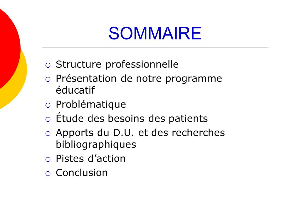 SOMMAIRE Structure professionnelle