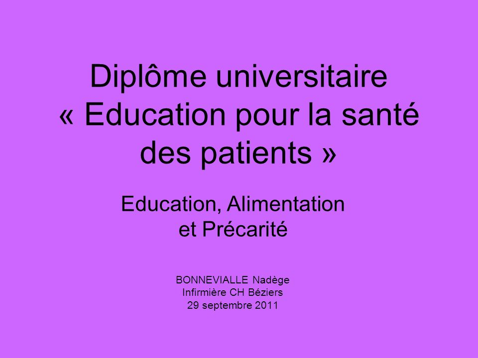 Diplôme universitaire « Education pour la santé des patients »
