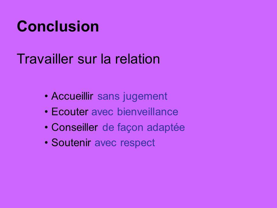 Conclusion Travailler sur la relation Accueillir sans jugement